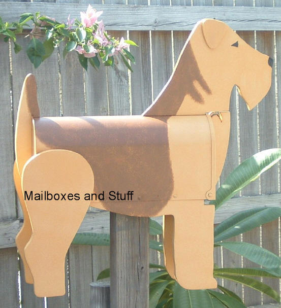 Airedale Terrier Mailbox. Dog Mailbox shaped like an Airedale Terrier Dog