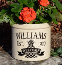 Welcome Pineapple ceramic crock . personalize with your last name, wedding date or house purchase date , even birth date