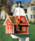 Red barn Light house mailbox with Solar lamp