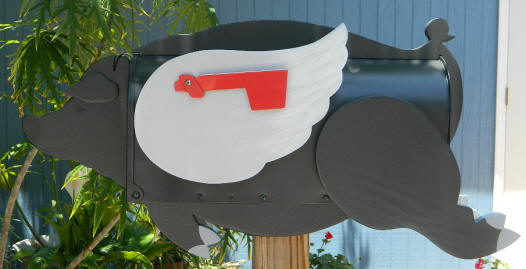 Pigs Do Fly Mailbox in black