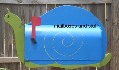 blue and green snail mailbox