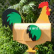 Golden Rooster mailbox with colorful accents