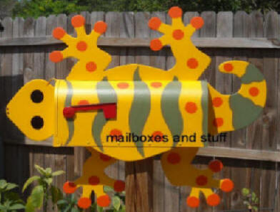 yellow , olive green and orange GECKO mailbox