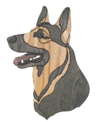 German Shepherd Dog Head Intarsia