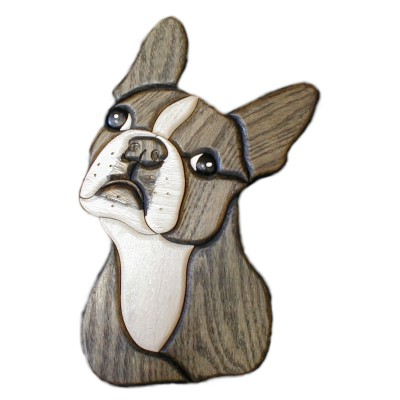Boston Terrier Intarsia