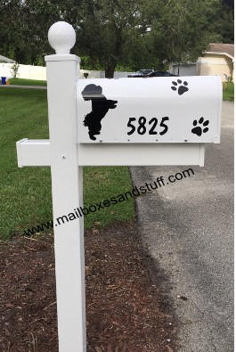 Bichon Graphic Silhouette white mailbox post