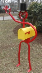 Smiley Face Happy Mailbox Man , Steel Tube dude sculpture