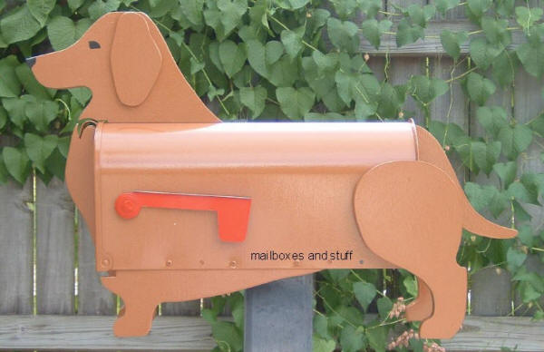 Dachshund Mailbox, standard brown Dachshund ,, can be custom painted as a Black and Tan Dachshund