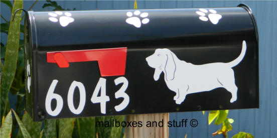 Graphic Silhouette Basset Mailbox