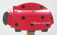 Ladybug Mailbox, gecko mailbox, beetle mailbox, bunny mailbox, garden critters mailboxes
