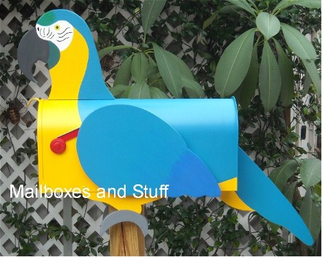 Macaw Mailbox, Blue and Gold Macaw Mailbox , Scarlet macaw mailbox