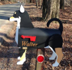 custom made  mixed breed dog mailbox