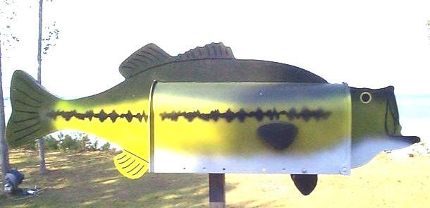 Fish mailboxes, post mount fish mailbox. Bass mailbox