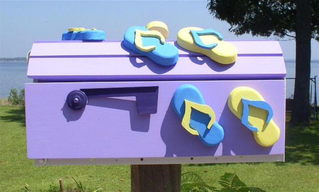 purple blue and yellow flip flop mailbox