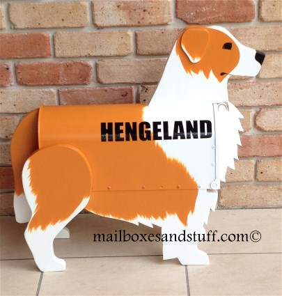 custom painted Border Collie Mailbox