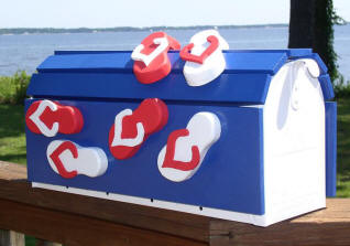 red, white and blue Flip Flop mailbox