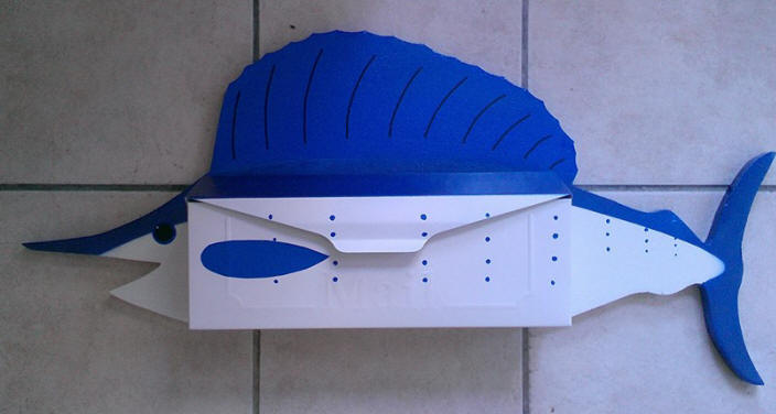Sail fish wall mount mailbox